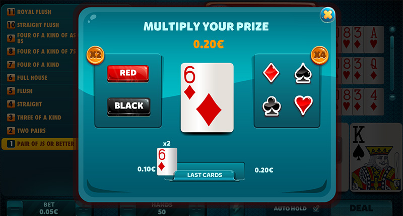 Gamble Mini Game, where you can multiply your winnings